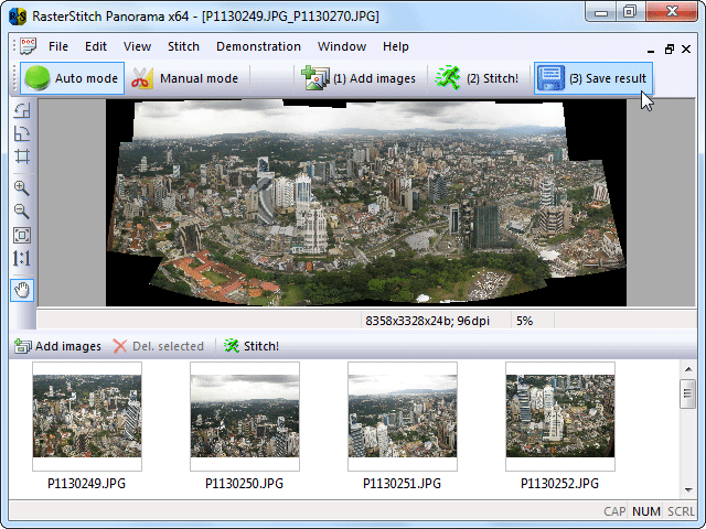 Click to view RasterStitch Panorama x64 3.51 screenshot