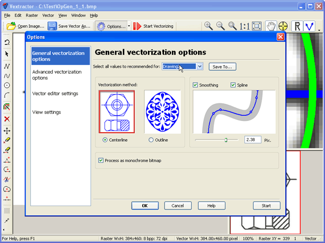 Vectorizer. Raster to vector conversion software.