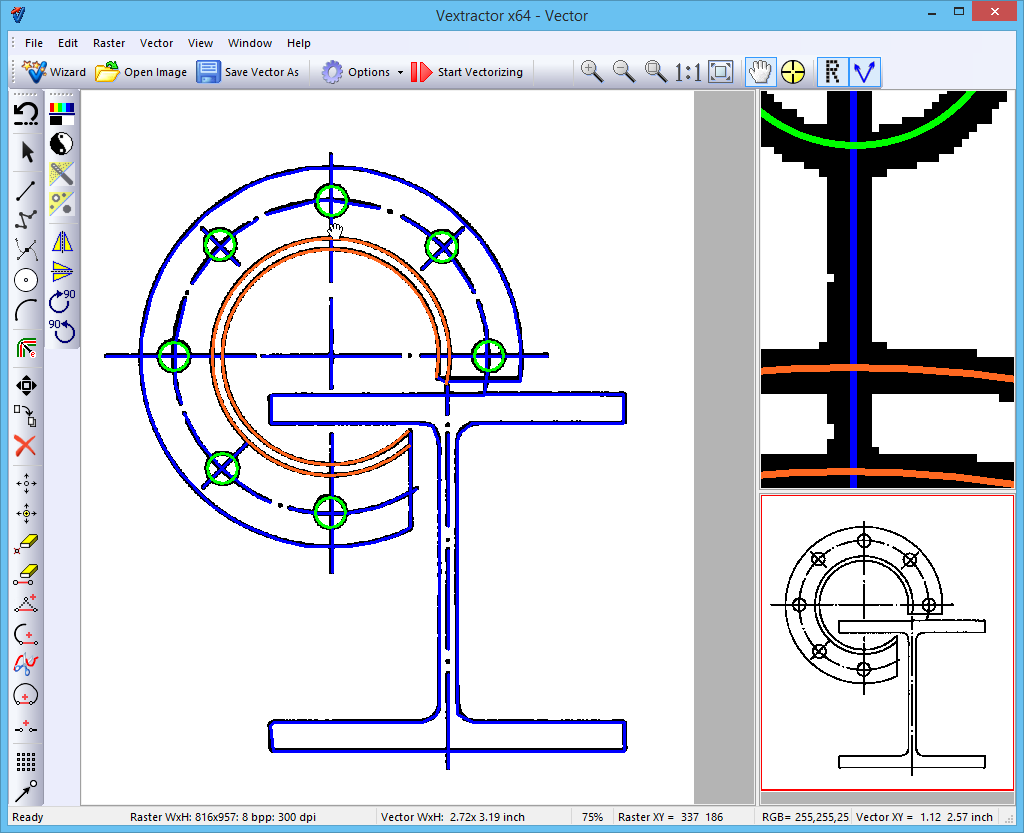 Raster to Vector Conversion Software Vextractor. Vectorize Your